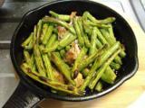 烏賊のマリネと炒め物、生野菜、インゲンのバターグリル