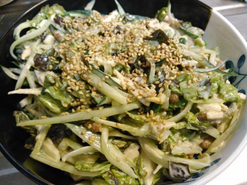 納豆と山芋の胡麻サラダ