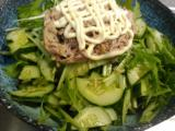 マグロと玉ねぎのグリル、オカラとムネ肉のつくねキノコソース、ツナサラダ。