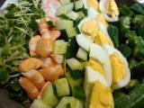 コブサラダ、お好み焼き、ヤゲン軟骨