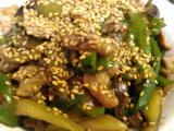 茄子ピーマン豚肉の中華炒め、ツナサラダ、鰹のたたき